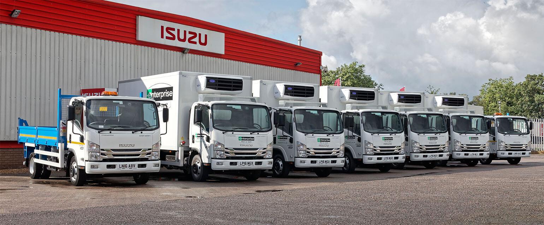A range of Isuzu truck vehicles belonging to fleet customer Enterprise Flex-E-Rent