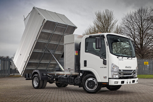 Image of an Isuzu truck N35.120 Grafter landscaping arb truck with high-sided tipper body