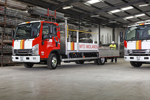 Image of an Isuzu truck N75 dropside scaffolding truck belonging to fleet customer MTD Scaffolding
