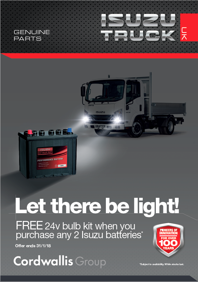 Cordwallis Group special offer ending 31/1/18: Free 24v bulb kit when you purchase any 2 Isuzu batteries