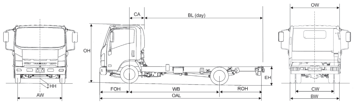 Image of a line drawing of the Isuzu truck N35.120 Grafter showing dimensions of the chassis-only vehicle with no body