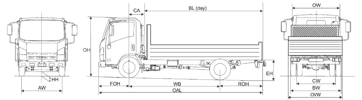 Image of a line drawing of Isuzu truck N35.120 twin rear wheel tipper