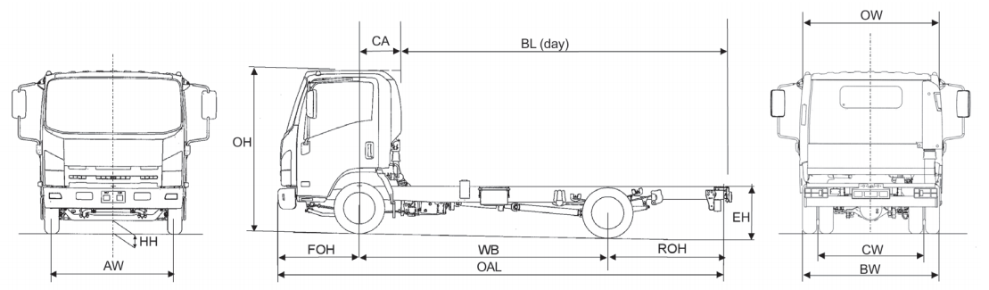 Image of a line drawing of the Isuzu truck N35.150 Grafter twin rear wheel chassis only