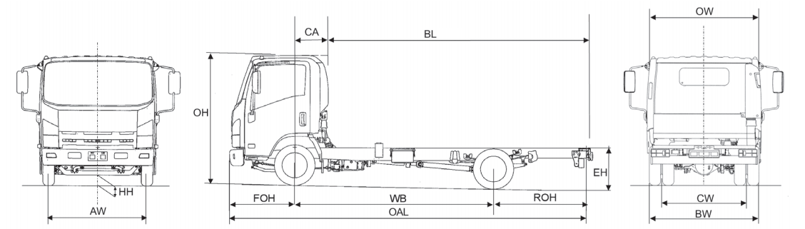 Image of line drawing of Isuzu truck N55.150 twin rear wheel chassis only narrow cab