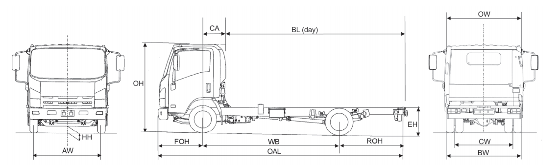 Line drawing of Isuzu truck N75.150 Urban twin rear wheel chassis only