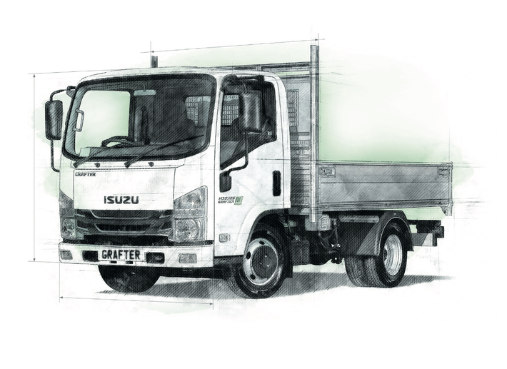 An illustrated image of Isuzu N35.125(T) Dropside